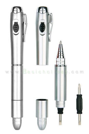 ปากกาด้ามพลาสติก มีไฟฉายและไขควง ปากกาเก๋ ปากกาเครื่องมือ ปากกาช่าง ปากกาแจก สกรีนชื่อ