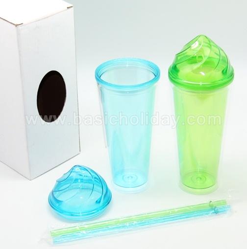 แก้วน้ำ 2 ชั้น สินค้าพรีเมี่ยม แก้วน้ำพลาสติก แก้วพลาสติกใส แก้วฝาไอติม ของขวัญ พร้อมกล่อง
