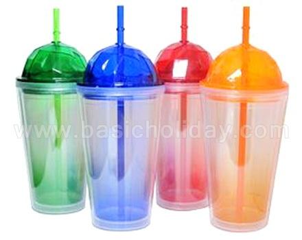 แก้วพลาสติก2ชั้น ฝาเพชร ฝาโดม travel mug แก้วน้ำ 2 ชั้น แก้วน้ำสองชั้น แก้วพลาสติกพรีเมี่ยม ของพรีเมียม ของที่ระลึก แจกปีใหม่ Double Wall Cup