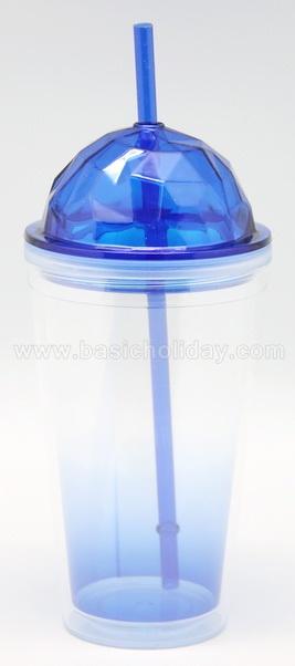 แก้วพลาสติก2ชั้น ฝาเพชร ฝาโดม แจกลูกค้า แจกงาน travel mug แก้วน้ำ 2 ชั้น แก้วน้ำสองชั้น แก้วพลาสติกพรีเมี่ยม ของพรีเมียม ของที่ระลึก สินค้าพีเมี่ยม Double Wall Cup