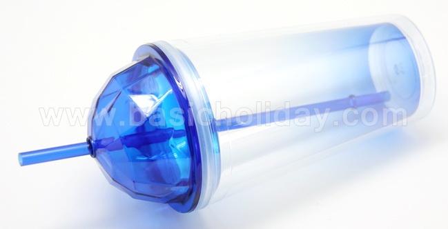 แก้วพลาสติก2ชั้น ฝาเพชร ฝาโดม travel mug แก้วน้ำ 2 ชั้น แก้วน้ำสองชั้น แก้วพลาสติกพรีเมี่ยม ของพรีเมียม ของที่ระลึก สินค้าพีเมี่ยม Double Wall Cup