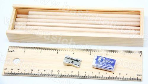 ชุดดินสอในกล่องไม้พร้อมไม้บรรทัด สกรีนฟรี ของแจกเด็ก ของรางวัล ดินสอ เครื่องเขียนเด็ก