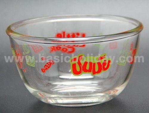 ชามแก้วใสมีโลโก้ ภาชนะใส่อาหาร จานชาม ชามแก้วลาย สกรีน ชามแก้วพรีเมี่ยม