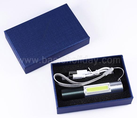 ไฟฉาย LED เป็นไฟฉายและไฟกะพริบ ชาร์จUSB บรรจุกล่อง