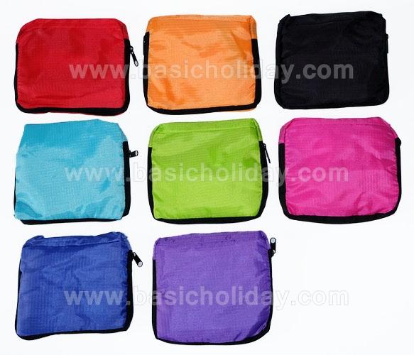 ถุงผ้าพับได้ผ้าไนล่อน สีพื้น คละสี