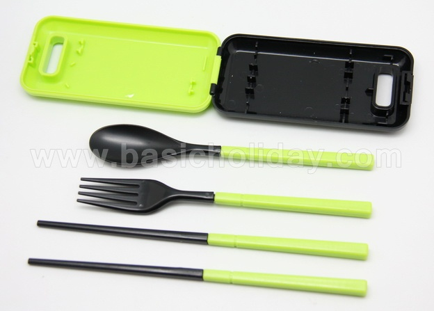 ชุดช้อนส้อมตะเกียบสีสดบรรจในกล่อง ของใช้ ช้อนส้อมพกพา ของที่ระลึกใส่โลโก้ ของแจก