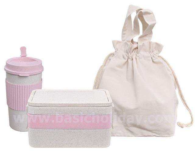 ชุดกล่องใส่อาหารและกระบอกน้ำ ECO+บรรจุในถุงผ้า