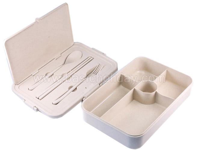 กล่องใส่อาหารพร้อมช้อนส้อมตะเกียบ ECO