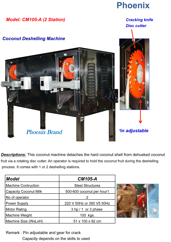 Coconut deshelling machine CM 105A
