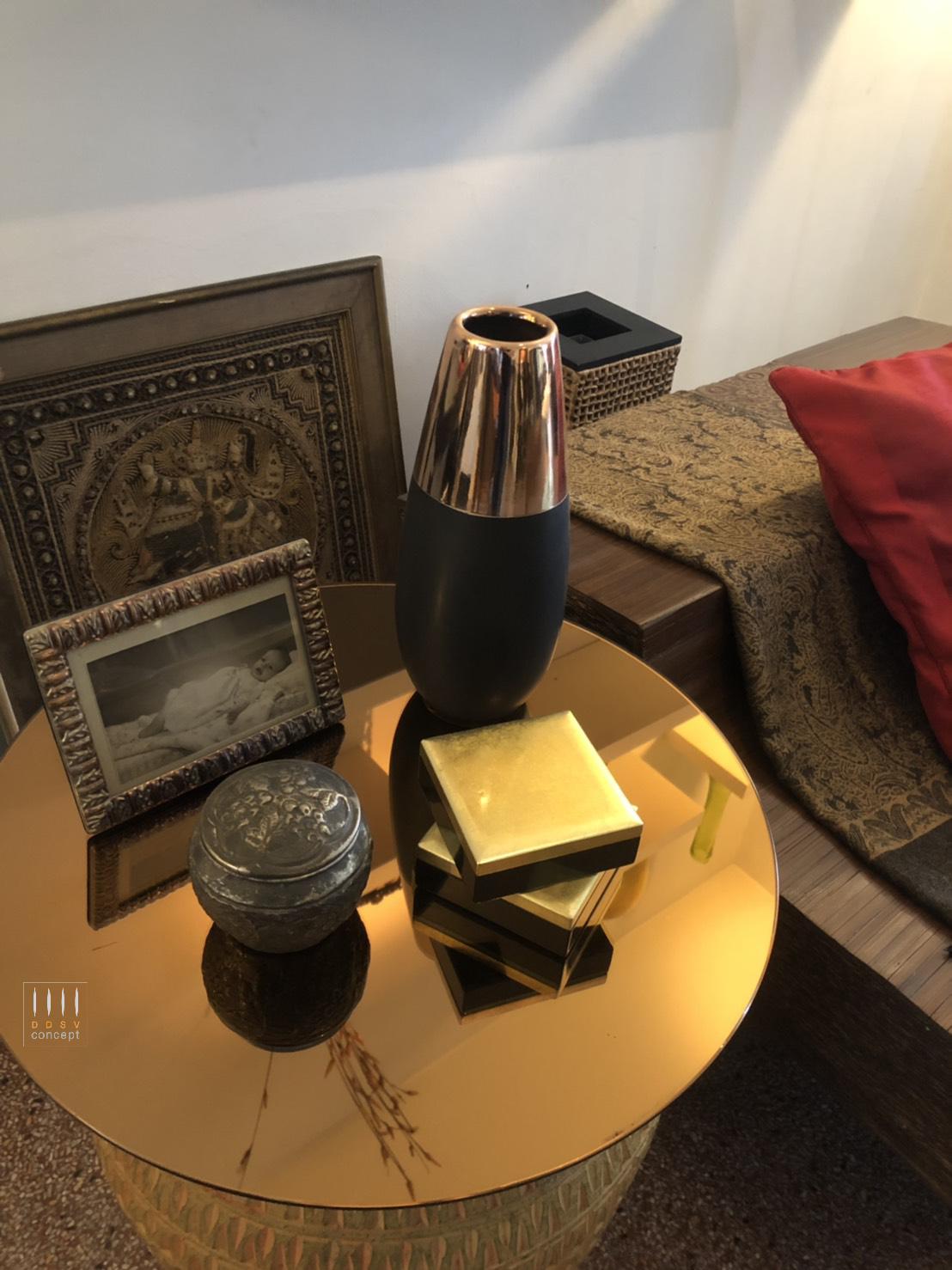 กระจกเงากลม กระจกเงาสีทองแดง ท็อปโต๊ะ  Copper Mirror Glass Top