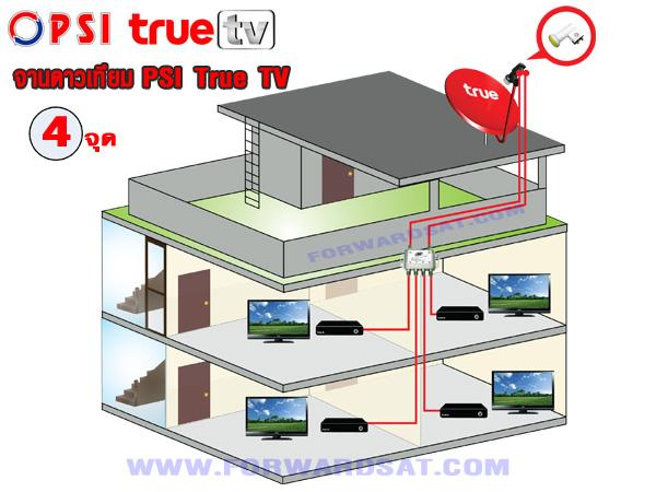 จานดาวเทียม PSI True TV ติดตั้ง 4 จุด อิสระ