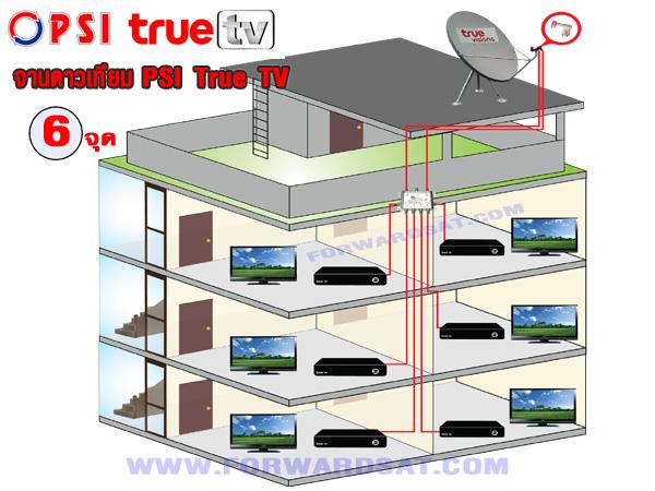 จานดาวเทียม PSI True TV ติดตั้ง 6 จุด อิสระ