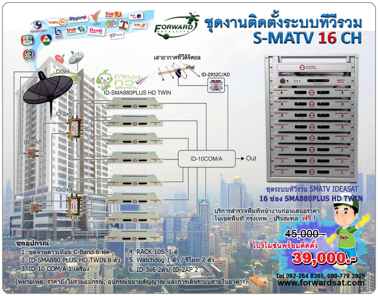 ชุดติดตั้งงานระบบทีวีรวม MATV 16 ช่อง IDEASAT รุ่น ID-SMA 880 PLUS HD TWIN 16 CH