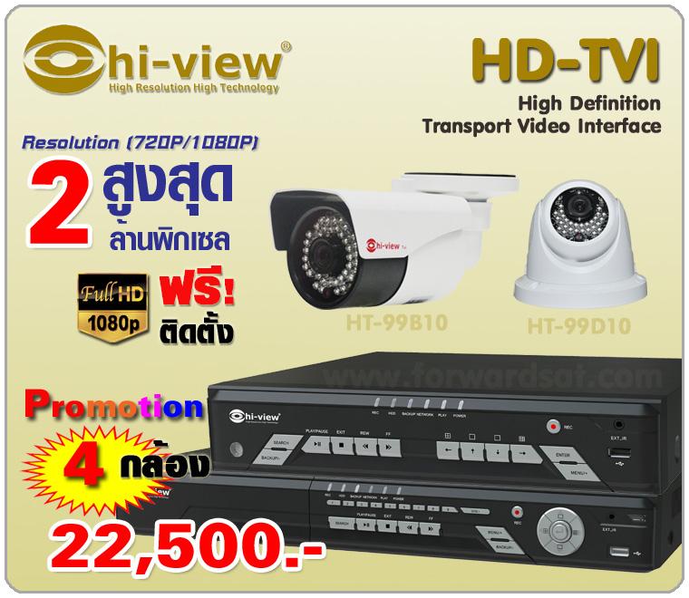 ชุดกล้องวงจรปิด HIVIEW HD-TVI 4 กล้องพร้อมติดตั้ง
