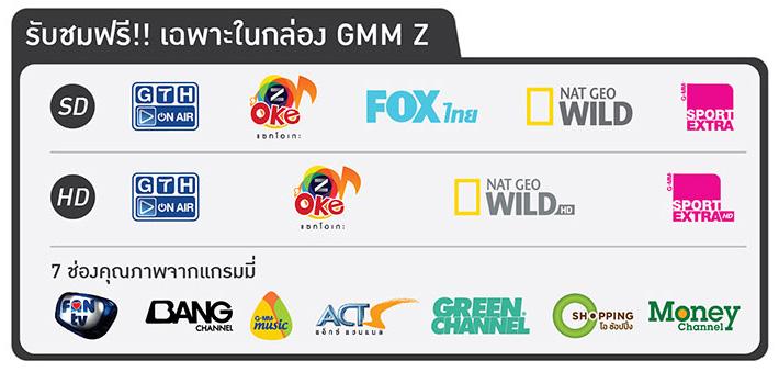 ช่องรายการที่รับชมได้จากจานดาวเทียม C-Band GMMZ HD