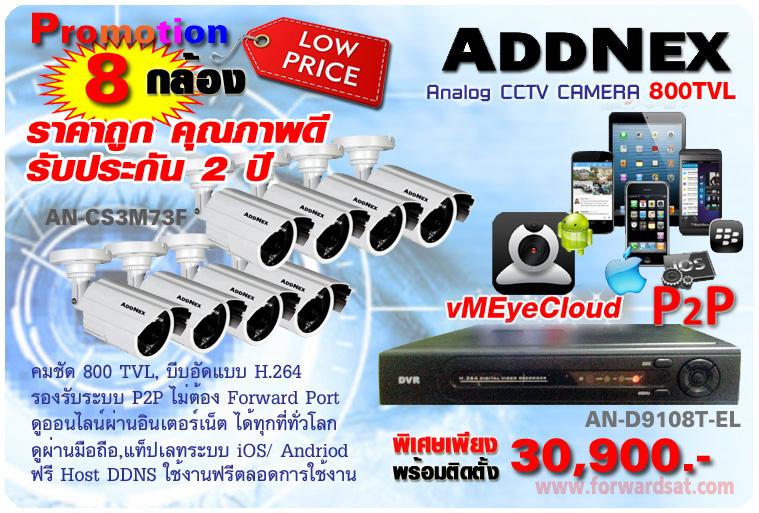 ชุดกล้องวงจรปิด ADDNEX ระบบ Analog 800TVL โปรโมชั่น 8 กล้องพร้อมติดตั้ง