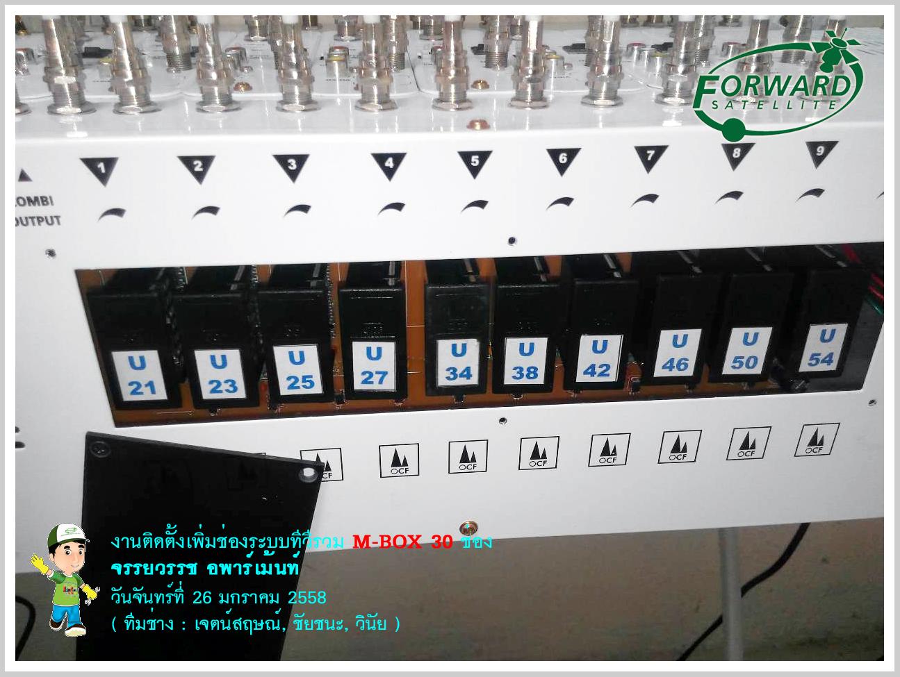 งานติดตั้งระบบทีวีรวม MATV 30 ช่อง M-BOX 10 ที่ จรรยวรรช อพาร์ทเม้นท์