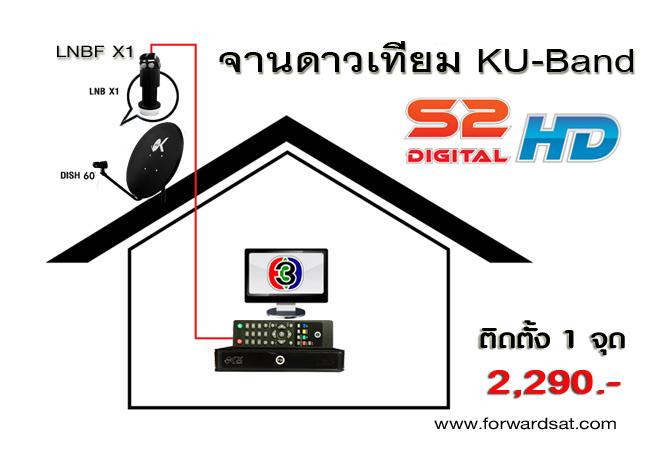 ชุดจานดาวเทียม KU-Band S2 Digital HD