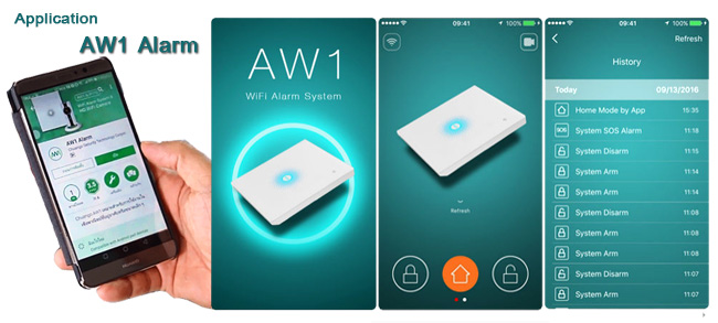 Application สัญญาณแจ้งเตือนกันขโมย AW1 Alarm