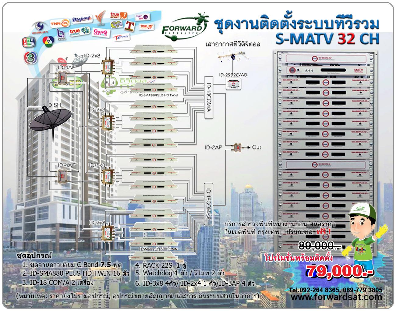 ชุดงานระบบทีวีรวม MATV IDEASAT 32 ช่อง ID-SMA 880 Plus HD TWIN 32 ช่อง