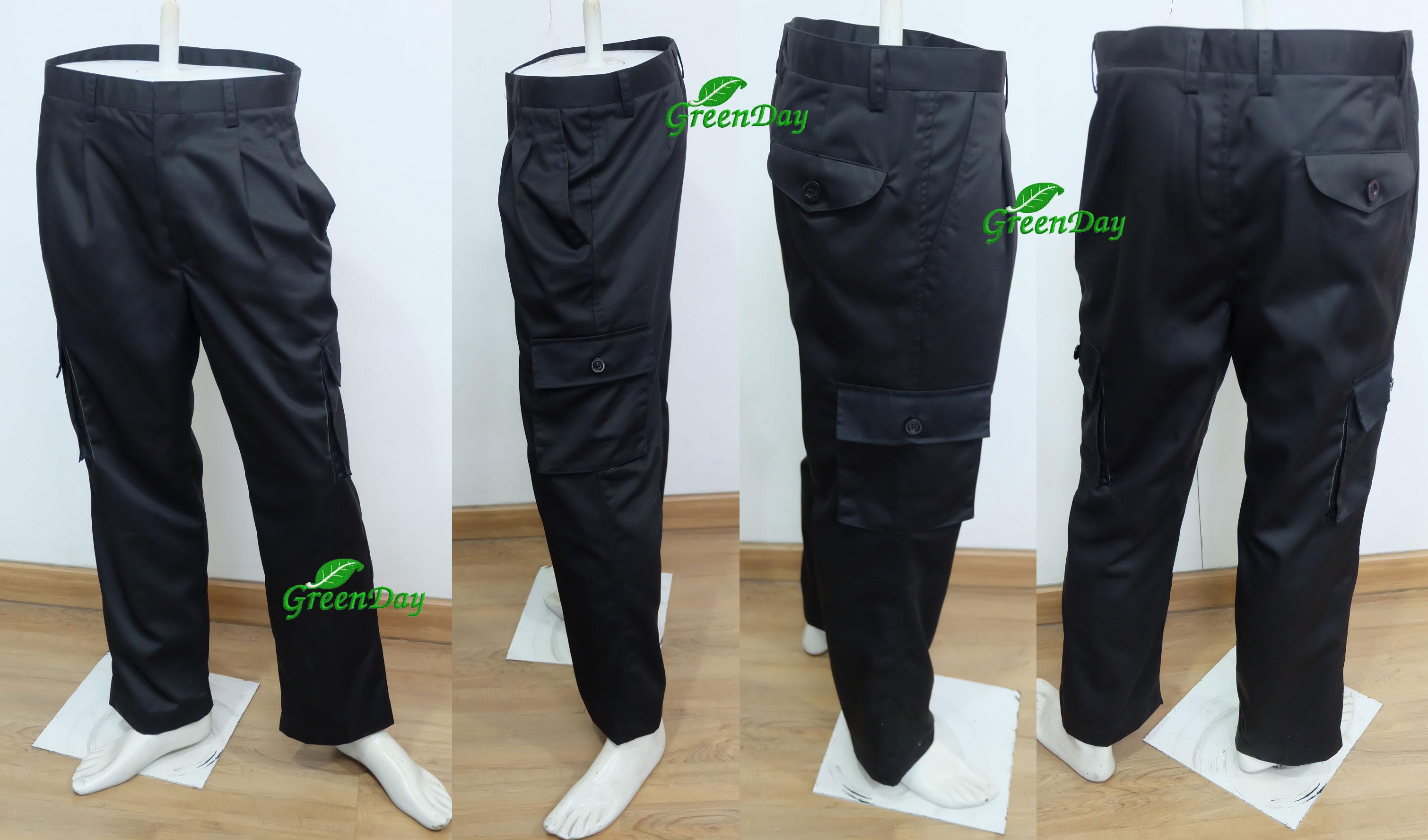กางเกงช่างกระเป๋าข้างสีดำ