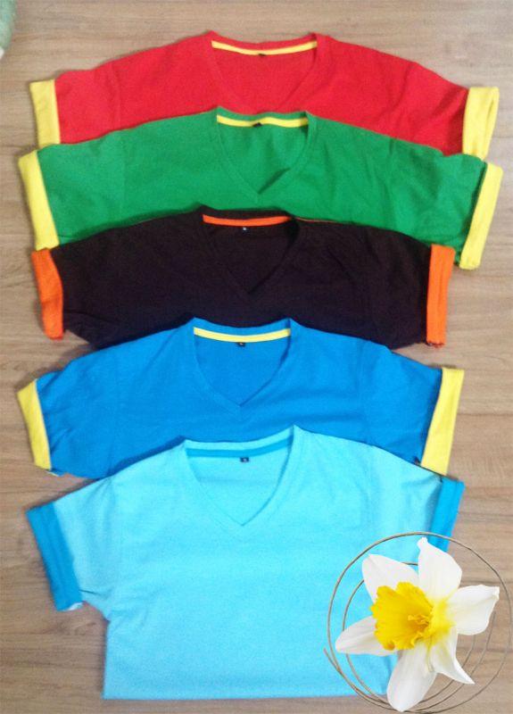 เสื้อคอกลมแต่งสี