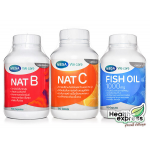 [แพ็ค 3] Mega We Care Nat B 100 เม็ด + Mega We Care Nat C 150 เม็ด + Mega We Care Fish Oil 100 เม็ด