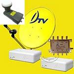 จานดาวเทียม DTV + LNB 2ขั้ว 1ตัว + LNB 1ขั้ว 1ตัว + กล่องรับ 2กล่อง