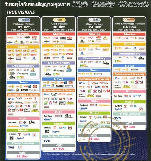 ช่องรายการจาก true visions แบบจ่ายรายเดือน