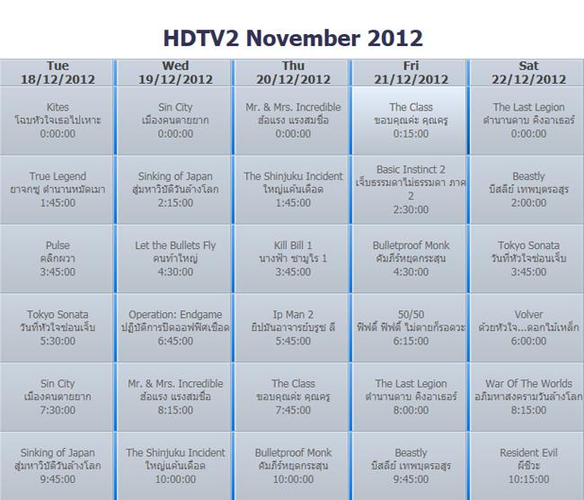 ตัวอย่าง รายการหนังต่างประเทศจากช่อง  HDTV2