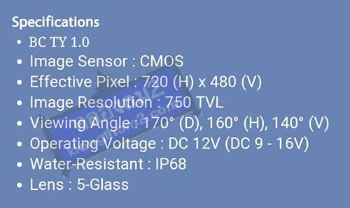 spec กล้องมองหลัง Blaupunkt bc ty 1.0