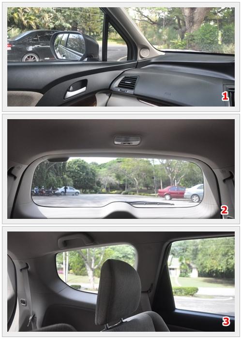 ในส่วนของวิสัยทัศน์การขับขี่ ด้านหน้าตรงกระจกบานหน้าค่อนข้างโปร่ง แต่การกะระยะจากกันชนหน้า เนื่องจากฝากระโปรงที่ดูลาดลง อาจทำให้กะลำบากหน่อย แต่ก็ไม่เท่าตัว Gen1และ2 ที่มีความลาดชันมากกว่า สำหรับเสา A คู่หน้าไม่ดูหนามาก จึงไม่บังในจังหวะกลับรถมากนัก สิ่งที่ดูจะเป็นปัญหาที่สุด คือ กระจกมองข้างที่ดีไซน์ออกมุมเหลี่ยมๆ กับกรอบกระจกมองข้างพลาสติกที่ยื่นออกมาค่อนข้างมาก ทำให้มุมมองนั้นยากลำบากขึ้นไป เพื่อแลกกับความสวยงาม ซึ่งเวลาจะเปลี่ยนเลน ต้องมีการเอี้ยวตัวเพื่อหาองศามองมุมกระจกมองข้างที่ชัดเจนก่อนเปลี่ยนเลน ซึ่งลำบากพอสมควร และกระจกบานหลังที่พื้นที่การมองด้านหลังไม่มากนัก เนื่องจากหลังคาตอนท้าย Slope ลาดลง นอกนั้นในมุมมองตัวรถทางด้านอื่นๆ ไม่ว่าจะกระจกตอน 2 บริเวณเสา B ก็ยังไม่ดูเป็นอุปสรรคนักมองได้ปกติดี ในส่วนช่องมองกระจกด้านหลังเสา C ถึงแม้จะ มีพื้นที่ไม่มากแต่ก็ยังพอมองเห็นได้ในจังหวะเลี้ยวรถ หรือกลับรถ