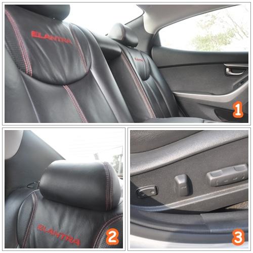 หลังจากที่ได้รับกุญแจรถ และเดินมาที่รถพร้อมกับตรวจเช็ครถเรียบร้อย ก็ทำการปลดล๊อครถด้วยระบบ Keyless ซึ่งจะมีปุ่มสีดำอยู่ตรงบริเวณมือจับประตูทำให้ปลดล๊อครถได้โดยสะดวกไม่ต้องเอื้อมมือไปล้วงกุญแจมากดปลดล๊อคให้เสียเวลา ลักษณะนี้จะคล้ายๆ กับระบบ KOS ของ Mitsubishi ซึ่งจะต้องกดปุ่มสีดำตรงบริเวณมือจับประตู เพื่อทำการปลดล๊อคประตู และเมื่อเปิดประตูเข้าไป พบกับเบาะหนังสีดำ ด้ายแดงทรงสปอร์ต มีหนังกลับหุ้มอยู่เล็กๆ บริเวณขอบด้านข้าง พร้อมคำว่า Elantra บริเวณพนักพิง ซึ่งดูดุดันให้อารมณ์เหมือนขับรถสปอร์ต 2 ประตู บนหมอนรองศรีษะด้านบนหนาหนุนให้ศรีษะให้รู้สึกนิ่มไม่ปวดแข็งบริเวณด้านหลังคอ แต่เมื่อหลังจากกดปุ่ม Push Start Engine แล้ว พยายามจะเปิดกระจกที่พับให้กางออก นั่งงมอยู่ตั้งนาน ไม่เจอ! โอวไม่คิดเลยว่า รถราคาค่าตัวแพงขนาดนี้ จะต้องมาใช้มือพับกระจก ให้พับเข้ากางออก หลังจากตั้งกระจกเรียบร้อย ก็มาปรับเบาะให้เข้ากับสรีระ ซึ่งเป็นแบบปรับระดับไฟฟ้า 10 ทิศทาง ซึ่งเป็นอะไรที่ชอบมาก เพราะมีตัวดันหลังให้ซึ่งช่วยคนที่มีอาการปวดเมื่อยหลังจากการขับรถได้มากอยู่