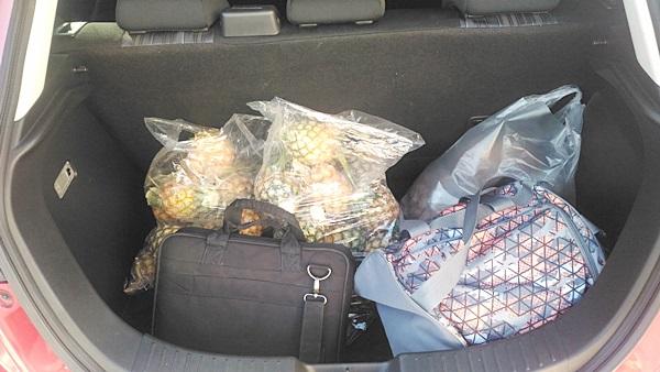 ตอนลงมาจากมอหินขาวแฟนผมเจอสับปะรดขายข้างทางกิโลละ 5 บาท จัดมา 20 กิโลเลย พอใส่ของฝากลงไปเลยรู้ว่าเจ้ามาสด้าสองคันนี้ถือว่าไม่เล็กเลยครับ ทั้งกระเป๋าเดินทาง ของฝากอีกเยอะแยะ ยัดเข้าไปตรงหลังเบาะหลังสบายๆ