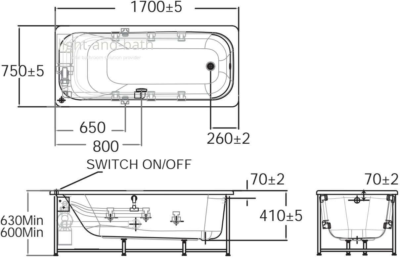 Tf 70271100 Wt อ่างอาบน้ำวน รุ่น Active American Standard