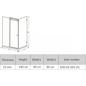 ESE-02-001-01 SHOWER ENCLOSURES 180 cm.*90 cm.*90 cm.*10 mm.