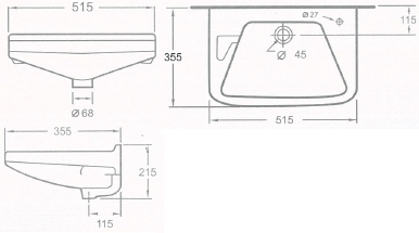 A210-E-WT อ่างล้างหน้า แบบแขวนผนัง