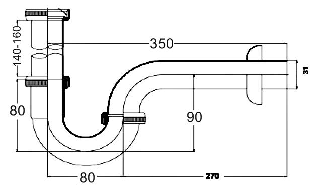 PM653AX(HM) ท่อน้ำทิ้งอ่างล้างหน้ารูปตัวพี ยาว 35 ซม. - PREMA