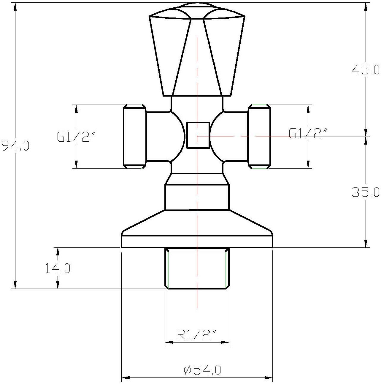"SV-112 สต็อปวาล์ว 1/2 "" 2 ทาง (Two Way Angle Valve)"