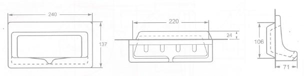 A900-WT สีขาว  ที่วางสบู่ แบบฝังผนัง