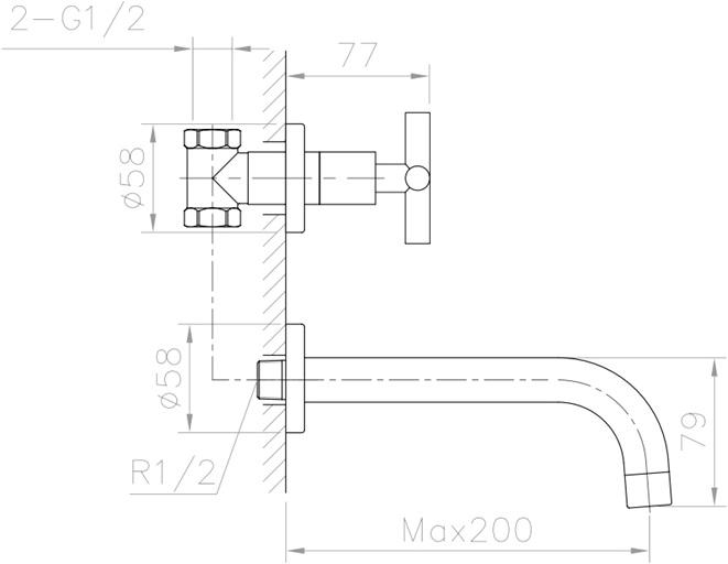 RA 031526C ก๊อกอ่างล้างหน้า (น้ำเย็น) แบบติดผนัง รุ่น VICTORIA