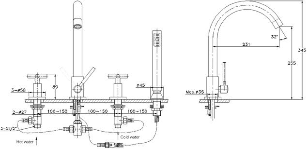 RA 032503C ก๊อกอ่างอาบน้ำ (ผสม) แบบติดเคาน์เตอร์ รุ่น VICTORIA - RASLAND