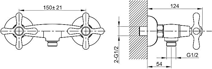 CA 102215BH ก๊อกยืนอาบ (ผสม) พร้อมชุดฝักบัวสายอ่อน สีทองแดง รุ่น CLASSICAL
