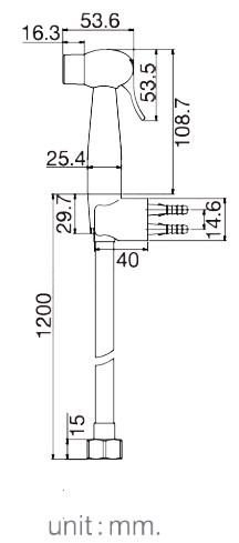 FXHOY-0013WZชุดฉีดชำระทรงกลมสีขาว+สาย+ที่เสียบพลาสติก รุ่น TWO TONE