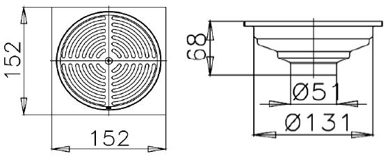 CT640Z4P(HM)ตะแกรงกันกลิ่นสเตนเลสเหลี่ยมติดตั้งกับท่อพีวีซีขนาด 2-4 นิ้ว (หน้าแปลน 6 นิ้ว)