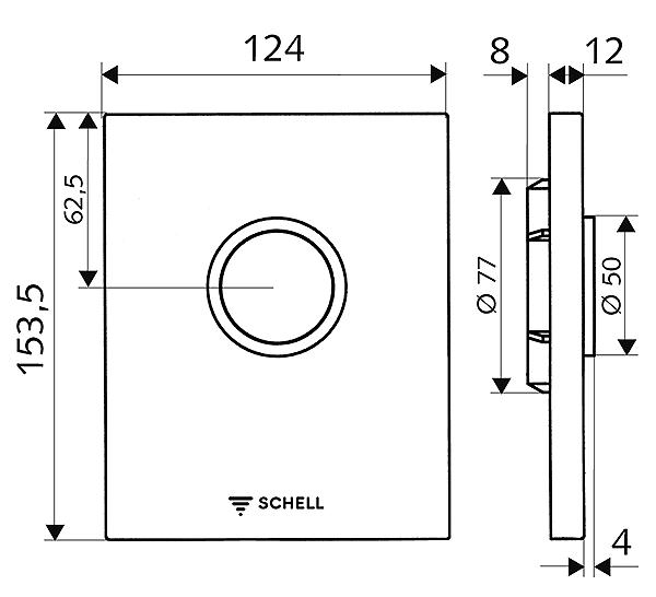 028020699 แป้นกดชักโครก สีโครเมี่ยม สำหรับใช้กับโครงเหล็ก 032810099