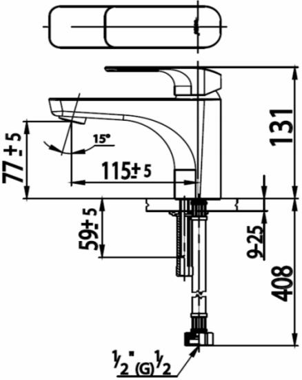 CT1132Aก๊อกเดี่ยวอ่างล้างหน้าแบบก้านโยก (sizeM)รุ่น SCIROCCO