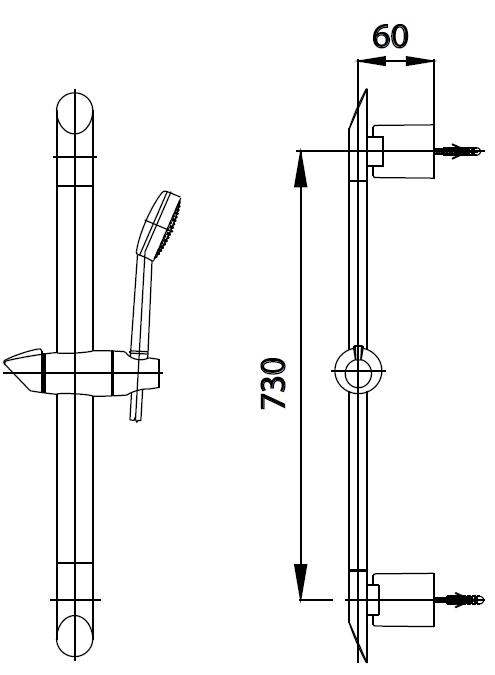 CT0133ราวแขวนฝักบัวปรับระดับยาว 73 ซม.
