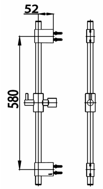 CT0134ราวแขวนฝักบัวปรับระดับยาว 58 ซม.