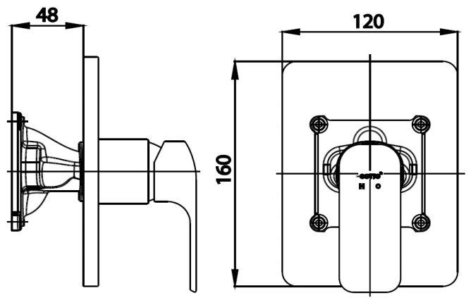 CT2151A วาล์วผสมเปิด-ปิดน้ำแบบก้านโยกชนิดฝังผนัง(ใช้กับ COTTO PROs) รุ่น SCIROCCO